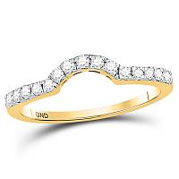14kt Yellow Gold Womens Round Diamond Curved Wedding Band Ring 1/4 Cttw