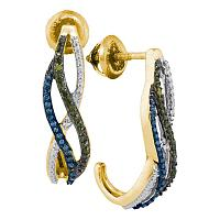 10kt Yellow Gold Womens Round Green Blue Color Enhanced Diamond Half J Hoop Earrings 1/4
