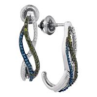 10kt White Gold Womens Round Green Blue Color Enhanced Diamond Half J Hoop Earrings 1/4 Cttw