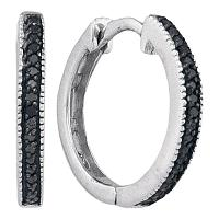 10kt White Gold Womens Round Black Color Enhanced Diamond Hoop Earrings 1/10 Cttw