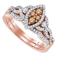 14kt Rose Gold Womens Round Brown Diamond Cluster Twist Bridal Wedding Engagement Ring Band Set 1/2 Cttw