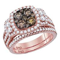14kt Rose Gold Womens Round Brown Diamond Bridal Wedding Engagement Ring Band Set 2.00 Cttw