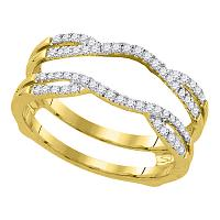 14kt Yellow Gold Womens Round Diamond Wrap Ring Guard Enhancer Wedding Band 1/3 Cttw