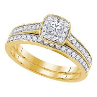 14k Yellow Gold Womens Princess Diamond Bridal Wedding Engagement Ring Band Set 1/2 Cttw