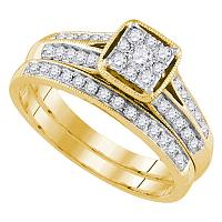 14kt Yellow Gold Womens Round Diamond Bridal Wedding Engagement Ring Band Set 1/2 Cttw