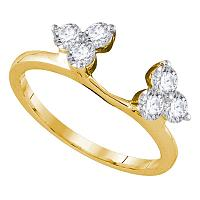 14kt Yellow Gold Womens Round Diamond Ring Guard Wrap Enhancer Band 3/4 Cttw