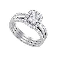 14kt White Gold Womens Diamond Cluster Amour Bridal Wedding Engagement Ring Band Set 1/2 Cttw