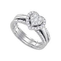 14kt White Gold Womens Diamond Heart 3-Piece Bridal Wedding Engagement Ring Band Set 1/2 Cttw
