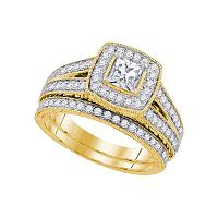 14kt Yellow Gold Womens Diamond Princess Halo Bridal Wedding Engagement Ring Band Set 1-1/4 Cttw