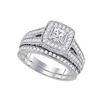14kt White Gold Princess Diamond Halo Bridal Wedding Engagement Ring Band Set 1-1/4 Cttw