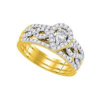 14kt Yellow Gold Womens Pear Diamond 3-Piece Bridal Wedding Engagement Ring Band Set 7/8 Cttw