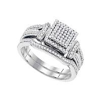 10kt White Gold Womens Diamond Cluster Bridal Wedding Engagement Ring Band Set 3/8 Cttw