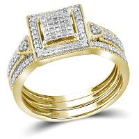10kt Yellow Gold Womens Diamond Square 3-Piece Bridal Wedding Engagement Ring Band Set 1/3 Cttw