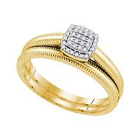 10kt Yellow Gold Womens Round Diamond Milgrain Bridal Wedding Engagement Ring Band Set 1/10 Cttw