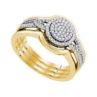 10kt Yellow Gold Womens Round Diamond 3-Piece Bridal Wedding Engagement Ring Band Set 1/3 Cttw