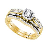10k Yellow Gold Womens Round Diamond Bridal Wedding Engagement Ring Band Set 3/8 Cttw