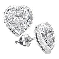 10kt White Gold Womens Round Diamond Heart Cluster Stud Earrings 1/3 Cttw