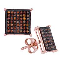 10kt Rose Gold Womens Round Red Color Enhanced Diamond Square Cluster Earrings 1/3 Cttw