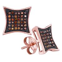 10kt Rose Gold Womens Round Red Color Enhanced Diamond Kite Cluster Earrings 1/4 Cttw