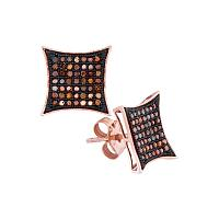 10kt Rose Gold Womens Round Red Color Enhanced Diamond Square Kite Cluster Earrings 1/3 Cttw