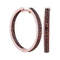 10kt Rose Gold Womens Round Red Color Enhanced Diamond Hoop Earrings 1.00 Cttw