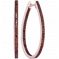 10kt Rose Gold Womens Round Red Color Enhanced Diamond Oval Hoop Earrings 1/2 Cttw
