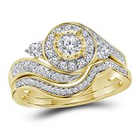 14kt Yellow Gold Womens Round Diamond Halo Bridal Wedding Engagement Ring Band Set 5/8 Cttw