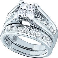14kt White Gold Womens Princess Diamond Bridal Wedding Engagement Ring Band Set 4.00 Cttw