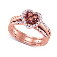 14kt Rose Gold Womens Round Cognac-brown Color Enhanced Diamond Heart Cluster Bridal Wedding Engagement Ring Band Set 1/2 Cttw