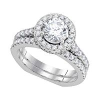18k White Gold Womens Round Diamond Bridal Wedding Engagement Ring Band Set 2.00 Cttw