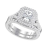 18k White Gold Womens Princess Diamond Solitaire Halo Bridal Wedding Engagement Ring Set 1-5/8 Cttw