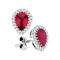 14kt White Gold Womens Pear Ruby Solitaire Diamond Frame Earrings 1-1/2 Cttw