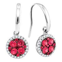 14kt White Gold Womens Round Ruby Cluster Circle Diamond Frame Dangle Earrings 7/8 Cttw
