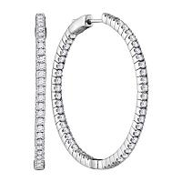 14kt White Gold Womens Round Diamond Hoop Inside Outside Earrings 2-7/8 Cttw