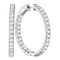 14kt White Gold Womens Round Diamond Hoop Inside Outside Earrings 4.00 Cttw