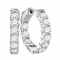 14kt White Gold Womens Round Diamond Hoop Earrings 3-7/8 Cttw