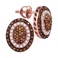 10kt Rose Gold Womens Round Brown Color Enhanced Diamond Oval Cluster Earrings 1/2 Cttw