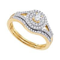 10k Yellow Gold Womens Round Diamond Concentric Halo Bridal Wedding Engagement Ring Set 1/2 Cttw