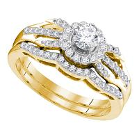 10kt Yellow Gold Womens Diamond Round Bridal Wedding Engagement Ring Band Set 1/2 Cttw