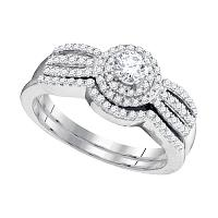 10kt White Gold Womens Round Diamond Strand Bridal Wedding Engagement Ring Band Set 1/2 Cttw