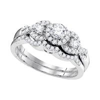 10k White Gold Womens Round Diamond Bridal Wedding Engagement Ring Band Set 5/8 Cttw