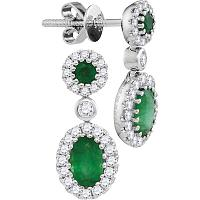 14kt White Gold Womens Oval Emerald Diamond Frame Dangle Earrings 1-1/2 Cttw