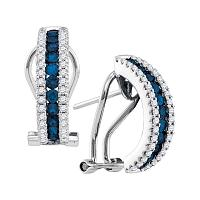 14kt White Gold Womens Round Blue Sapphire Vertical Diamond Stripe Hoop Earrings 1/2 Cttw