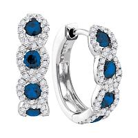 14kt White Gold Womens Round Natural Blue Sapphire Diamond Hoop Earrings 1-3/8 Cttw