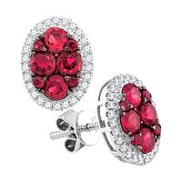 14kt White Gold Womens Round Ruby Cluster Oval Diamond Frame Earrings 1/5 Cttw