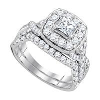 14kt White Gold Womens Princess Diamond Bridal Wedding Engagement Ring Band Set 2.00 Cttw