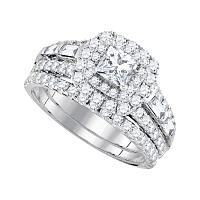 14kt White Gold Womens Princess Diamond Halo Bridal Wedding Engagement Ring Band Set 2.00 Cttw