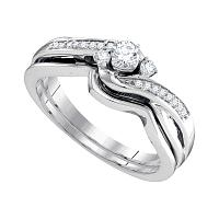 10k White Gold Womens Round Diamond Wedding Bridal Engagement Ring Band Set 1/4 Cttw