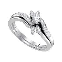 10kt White Gold Womens Round Diamond Leaf Floral Bridal Wedding Engagement Ring Band Set 1/4 Cttw