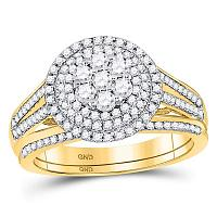 10kt Yellow Gold Womens Round Diamond Flower Cluster Bridal Wedding Engagement Ring Band Set 7/8 Cttw